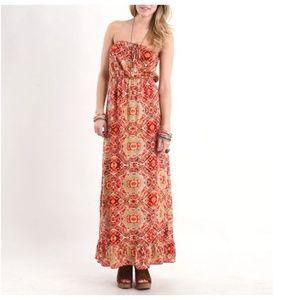 3/$25 KIRRA Bohemian Ikat Geo Print Maxi Dress E2